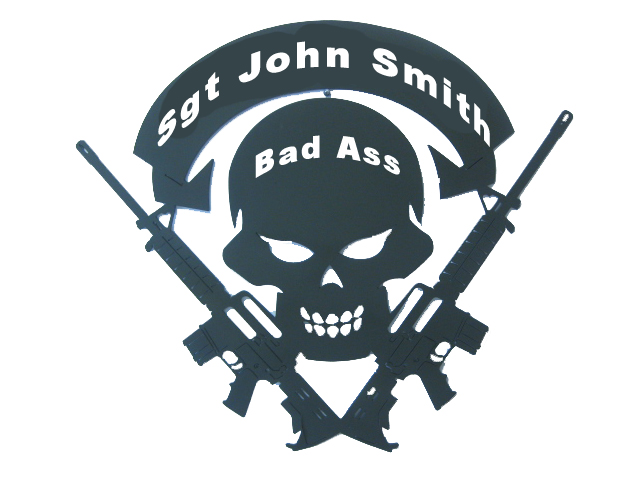 Special ops metal cut out sign Bad Ass - Click Image to Close