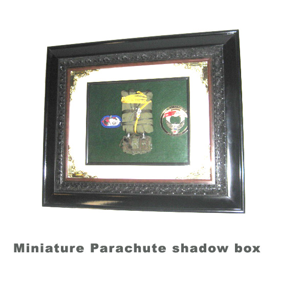 miniature parachute in shadow box - Click Image to Close