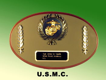 U.S.M.C. oval plaque with pin