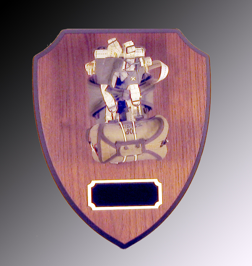 Parachute on wood shield plaque - Click Image to Close