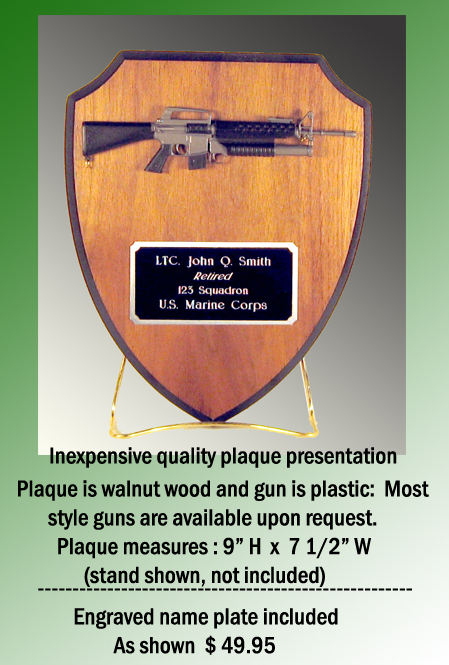 wall plaque with gun - Click Image to Close