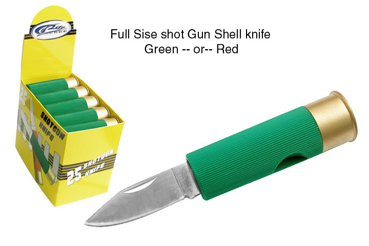 Sot gun shell knife GREEN - Click Image to Close