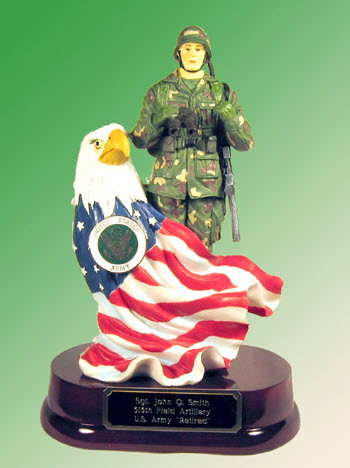 Soldier with eagle and flag w / U.S.Army pin