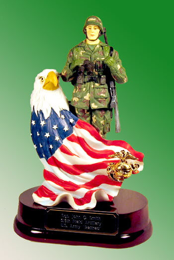 soldier with eagle and flag w/U.S.M.C. pin