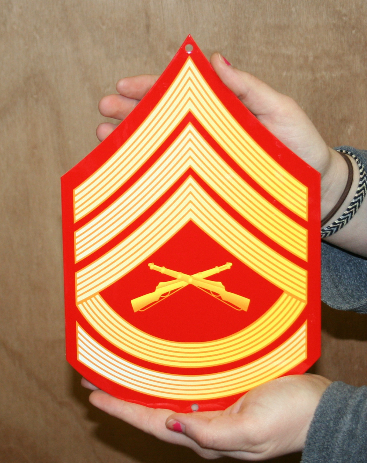 USMC E7 Gunnery Sgt rank Red & Gold metal sign - Click Image to Close
