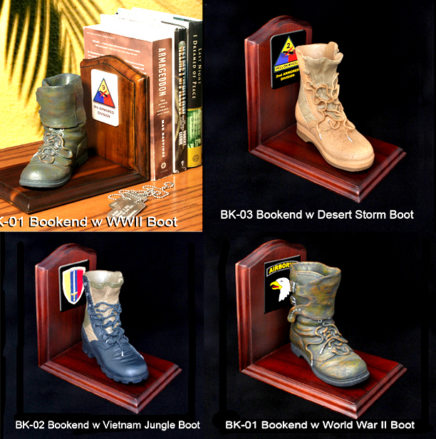 U.S. Military 1/4 scale Boots as bookends - Click Image to Close