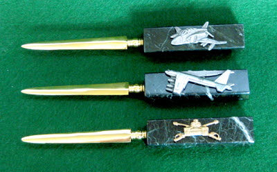 Letter Opener with assorted pins and badges - Click Image to Close