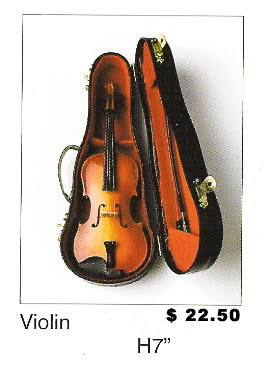 "Miniature Musical Instruments - Violin 7"" tall"