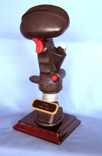 fighter aircraft stick grip on flat Rosewood base - Click Image to Close