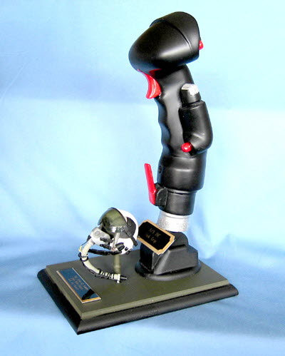 airplane stick grip & mini pilot helmet on wood base - Click Image to Close
