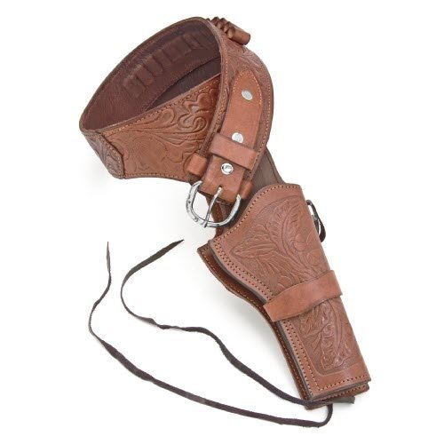 Deluxe tooled brown western holster - Click Image to Close